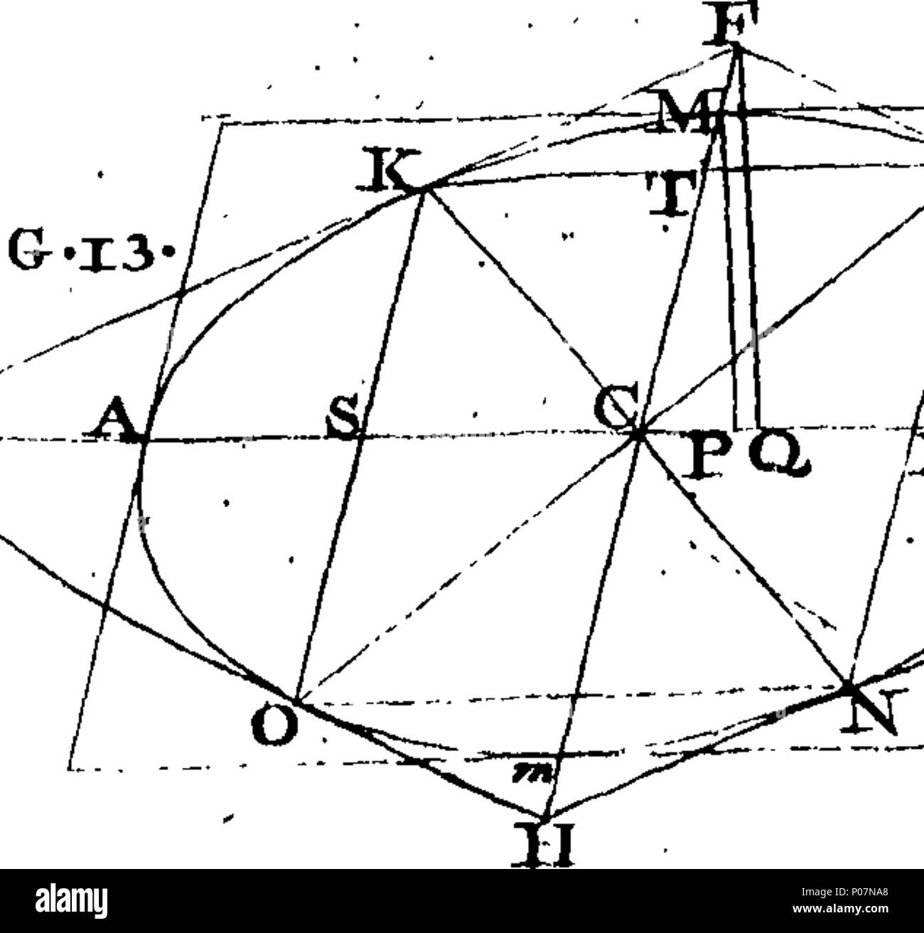 . English: Fleuron from book: A geometrical treatise of the conic sections, in which the properties of the sections are derived from the nature of the cone, in an easy manner, and by a new method. By Hugh Hamilton, A. M. Fellow of Trinity College, Dublin, and of the Royal Society, London, Now Dean of Armagh. Translated from the Latin original into English. 111 A geometrical treatise of the conic sections Fleuron T125962-19 - Stock Image