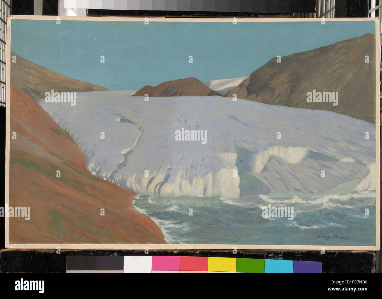 .  English: A glacier Oil painting by Charles Pears, entitled A glacier. A glacier  . Late 19th century - Mid 20th century.    Charles Pears (1873–1958)  Alternative names Chas Pears  Description English painter  Date of birth/death 9 November 1873 28 January 1958  Location of birth/death Pontefract, Yorkshire Truro, Cornwall  Authority control  : Q5081553 VIAF:?93830450 ISNI:?0000 0000 6664 6905 ULAN:?500010482 LCCN:?n2008047146 NLA:?35931256 WorldCat 111 A glacier RMG BHC2495 - Stock Image