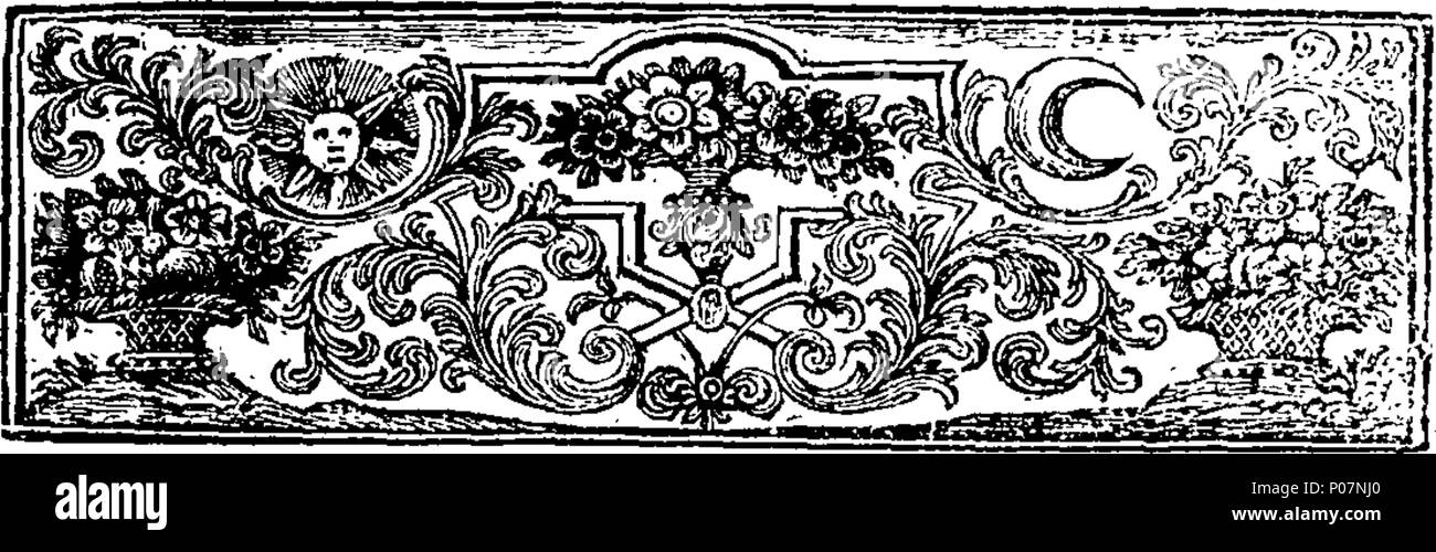 . English: Fleuron from book: A grateful remembrance of the reformation of the Church of England from popery, recommended. In a sermon Preach'd before the Right Honourable the Lord Mayor, and Aldermen, of the City of London, in the Cathedral Church of St. Paul; on Sunday, November 17, 1723. Being the Anniversary of Queen Elizabeth's Accession to the Throne. By Richard Mayo, M. A. Rector of St. Michael, near Crooked-Lane, and Chaplain to the Right Honourable the Lady Dowager Torrington. 111 A grateful remembrance of the reformation of the Church of England from popery, recommended Fleuron T0003 - Stock Image