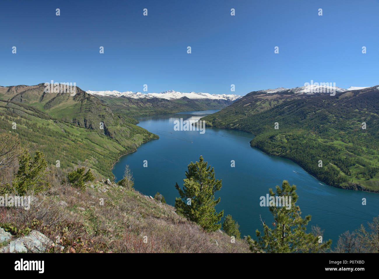 Spectacular lake view, Kanas Lake National Park, Xinjiang, China - Stock Image