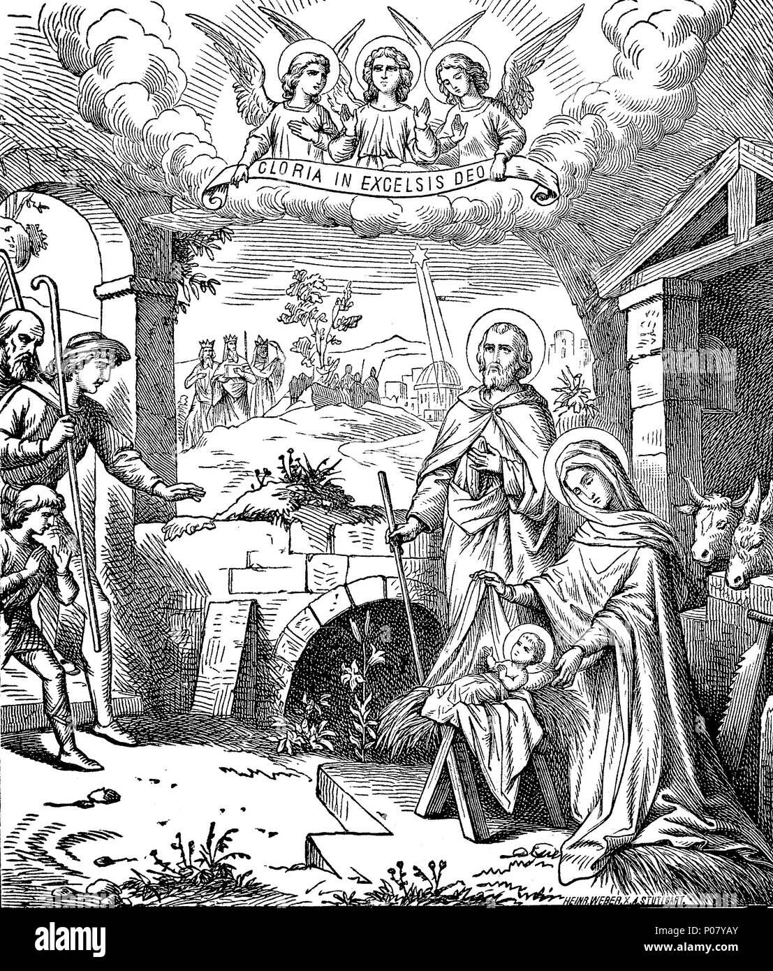 Christmas is an annual festival commemorating the birth of Jesus Christ, Ehre sei Gott in der Höhe, Christi Geburt, Bethlehem, digital improved reproduction of an original print from the year 1881 - Stock Image