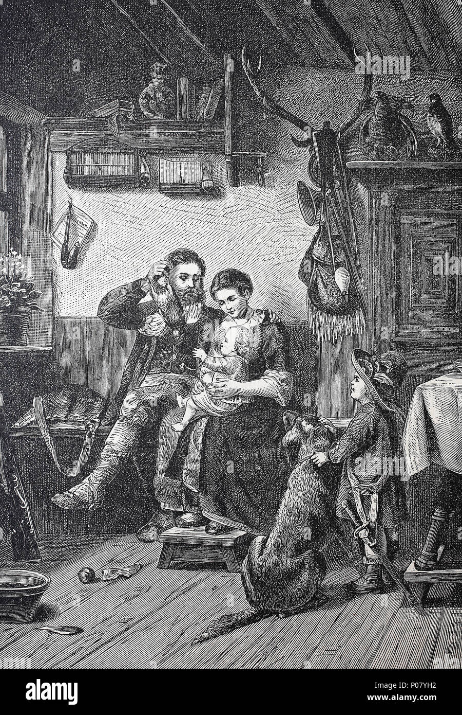 Return of the hunter after the hunt to his family, Austria, Heimkehr des Jägers nach der Jagd zu seiner Familie, Österreich, digital improved reproduction of an original print from the year 1881 - Stock Image
