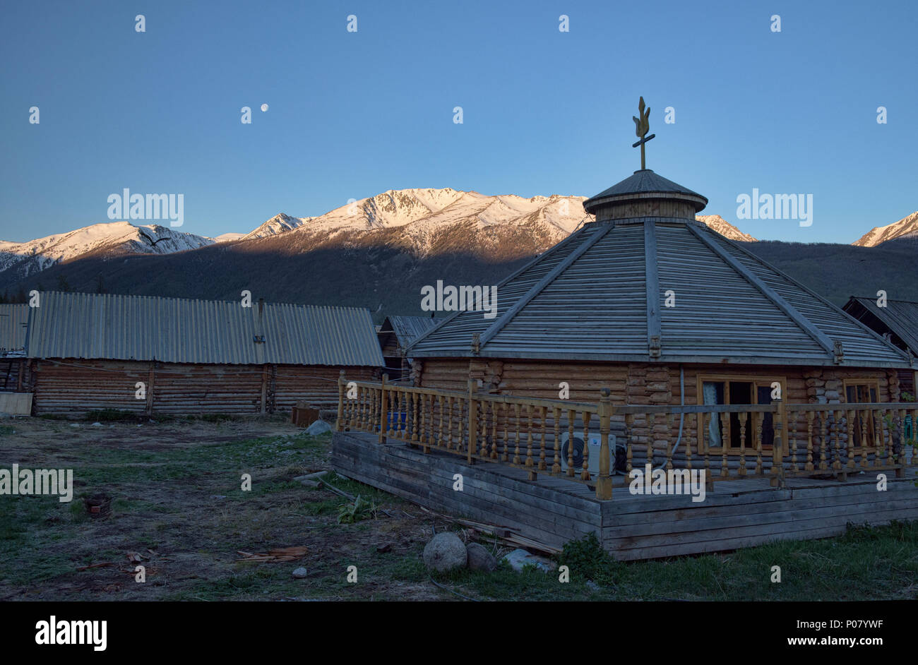 Tuvan village, Kanas Lake National Park, Xinjiang, China - Stock Image
