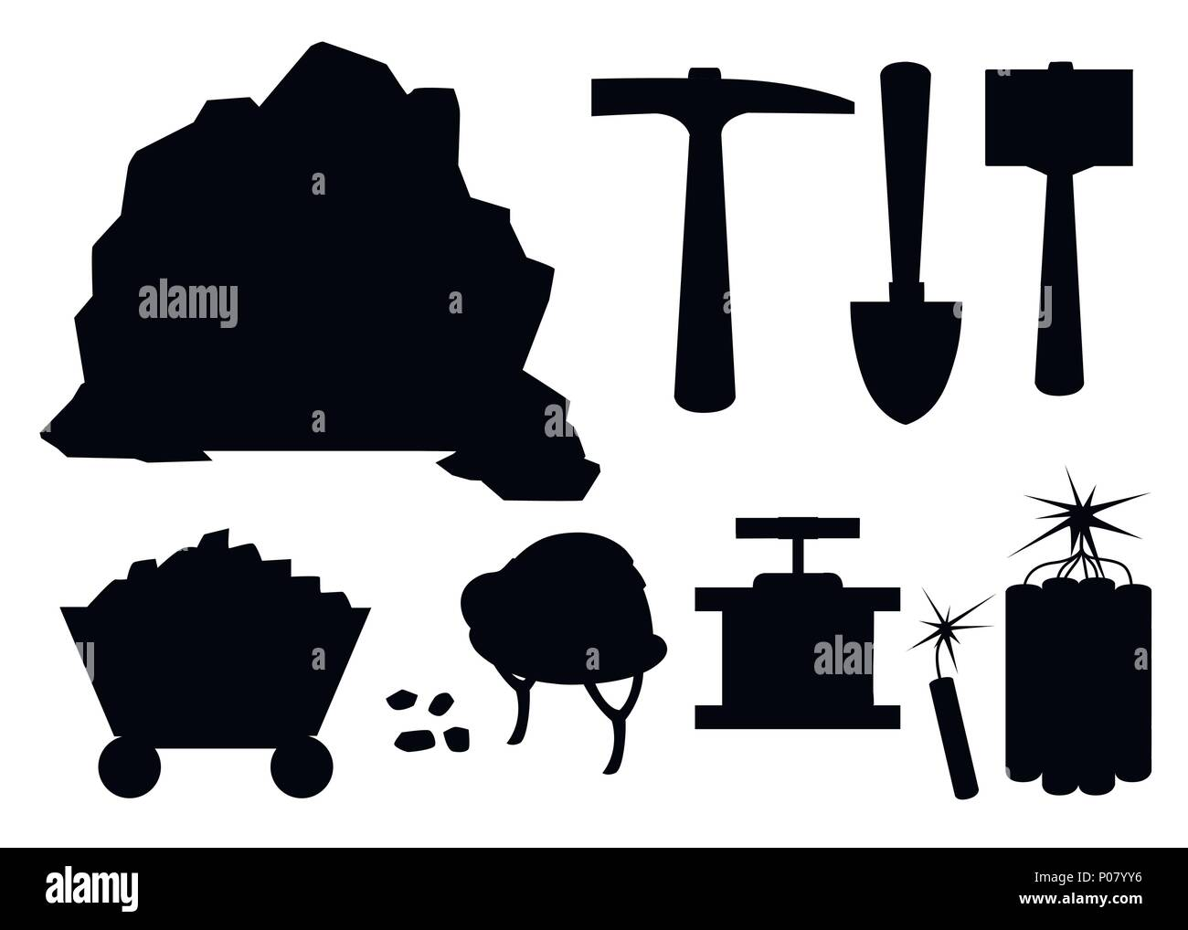 Black silhouette. Mining icon set. Cartoon mine entrance, and tools for mining and quarrying. Retro tunnel. Old mine in desert. Flat vector illustrati - Stock Vector