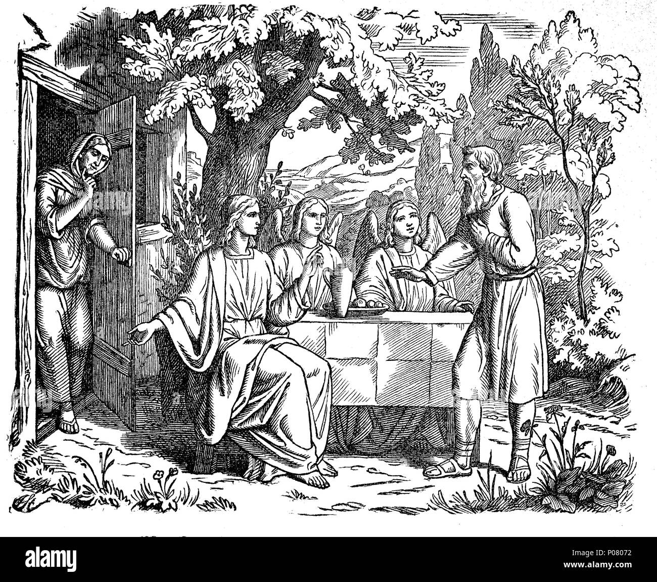 Abraham's hospitality and intercession, Abrahams Gastfreundschaft und Fürbitte, digital improved reproduction of an original print from the year 1881 - Stock Image