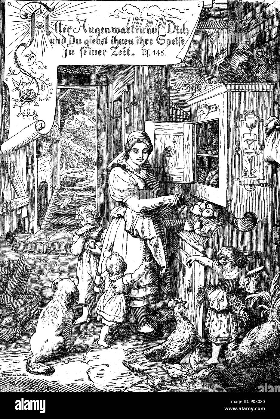 Family with children and pets in the kitchen, farm, middle ages, Familie mit Kindern und Haustieren in der Küche, Bauernhof, Mittelalter, digital improved reproduction of an original print from the year 1881 - Stock Image