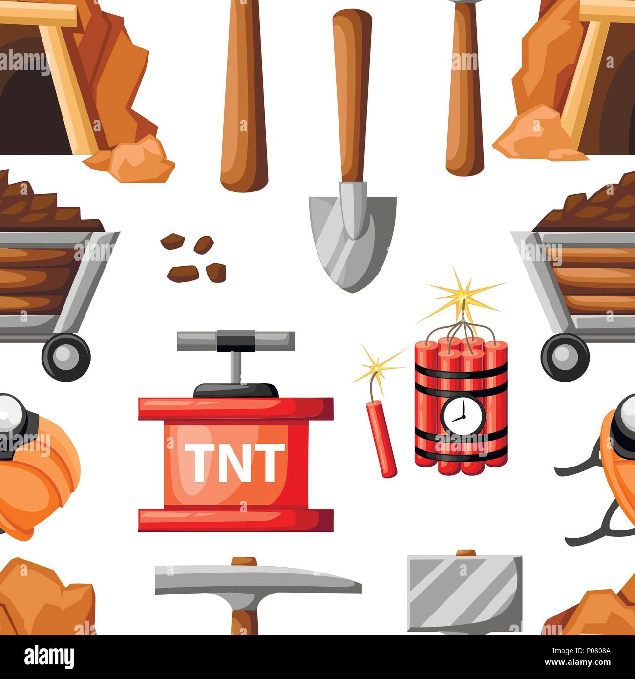 Seamless pattern. Mining icon set. Cartoon mine entrance, and tools for mining and quarrying. Retro tunnel. Old mine. Flat vector illustration on whit - Stock Vector