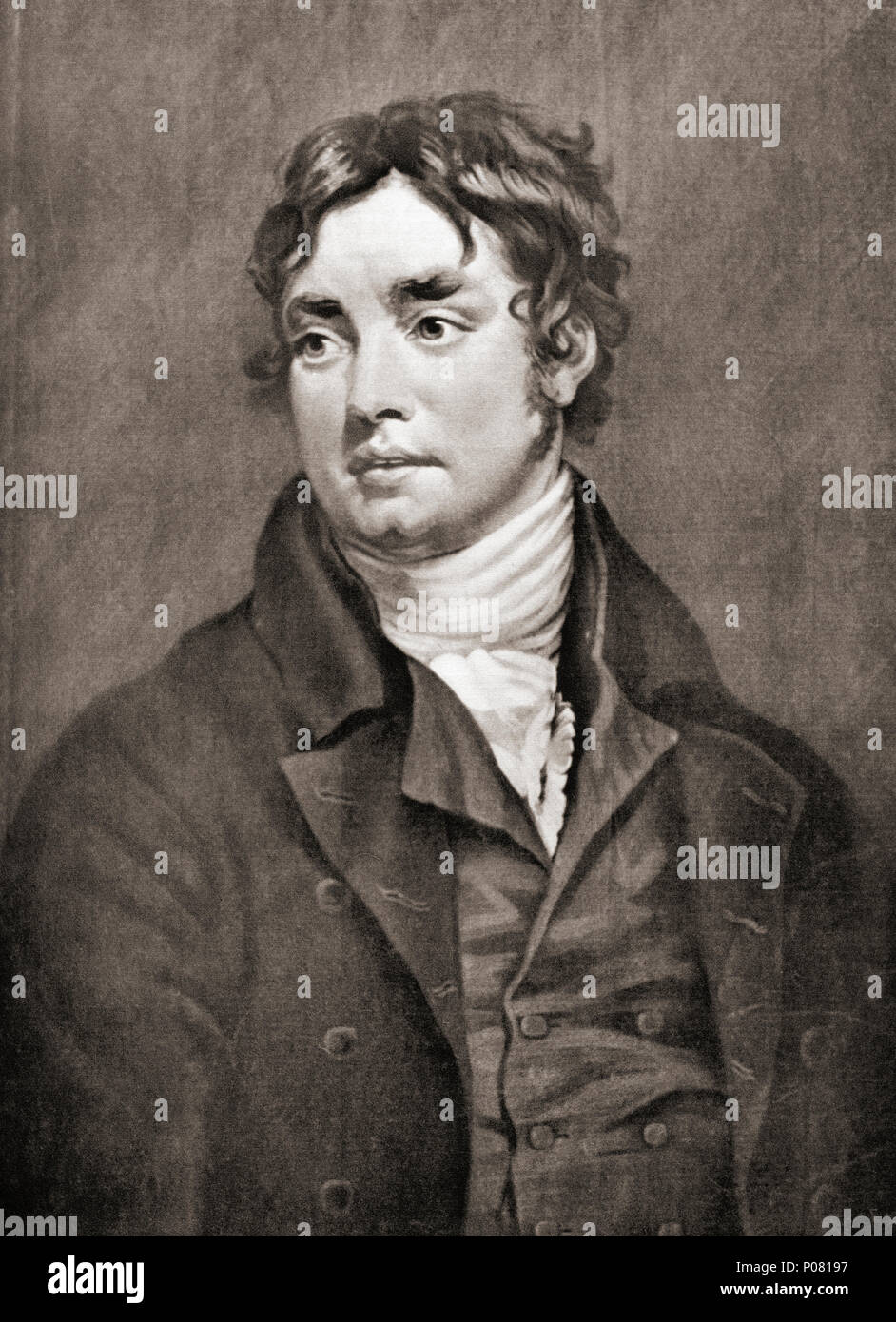 Samuel Taylor Coleridge, 1772 – 1834.  English poet, literary critic, philosopher and theologian.  After a contemporary print. - Stock Image