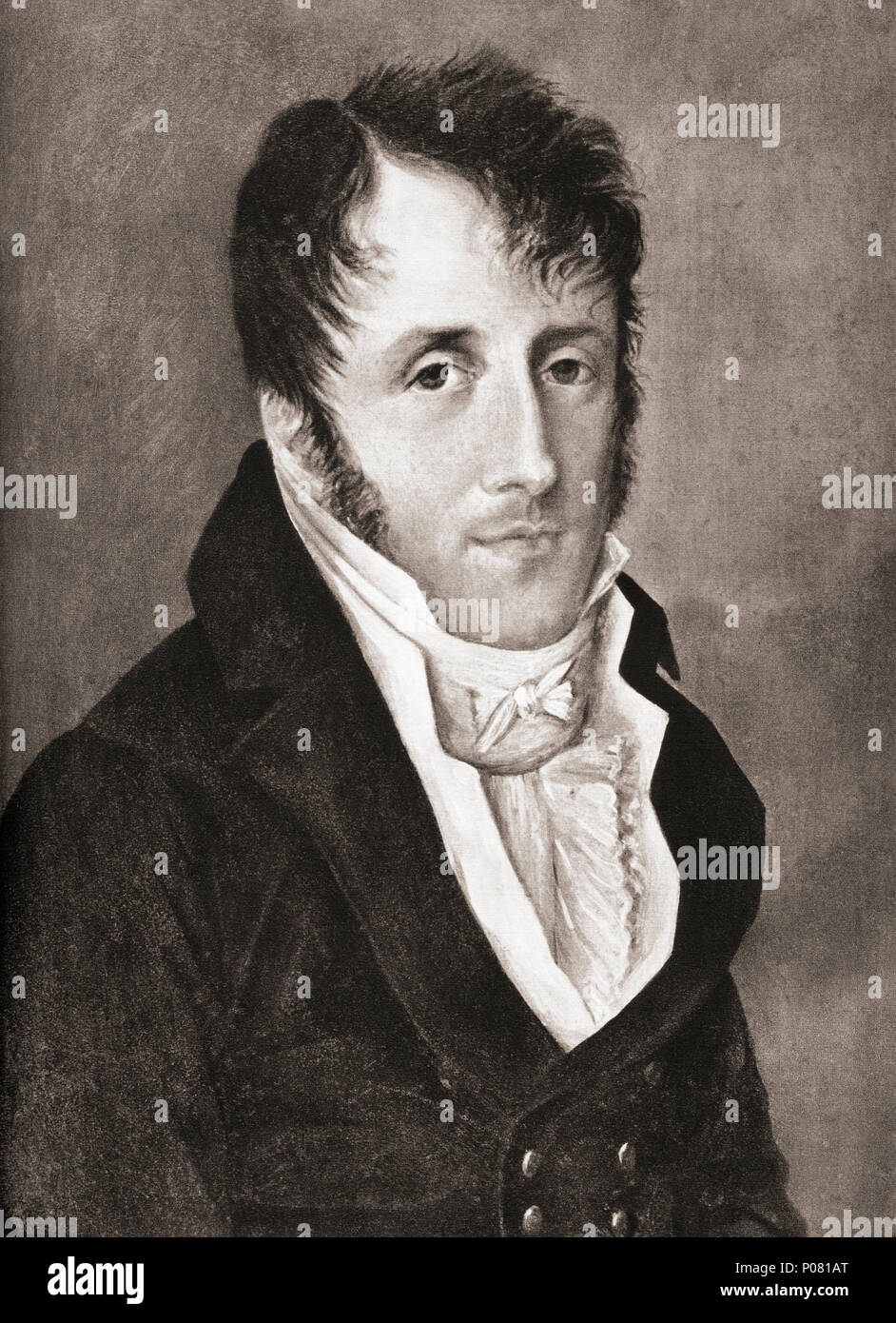François-René (Auguste), vicomte de Chateaubriand, 1768 – 1848.  French writer, politician, diplomat and historian,  considered the founder of Romanticism in French literature.  After a contemporary print. - Stock Image