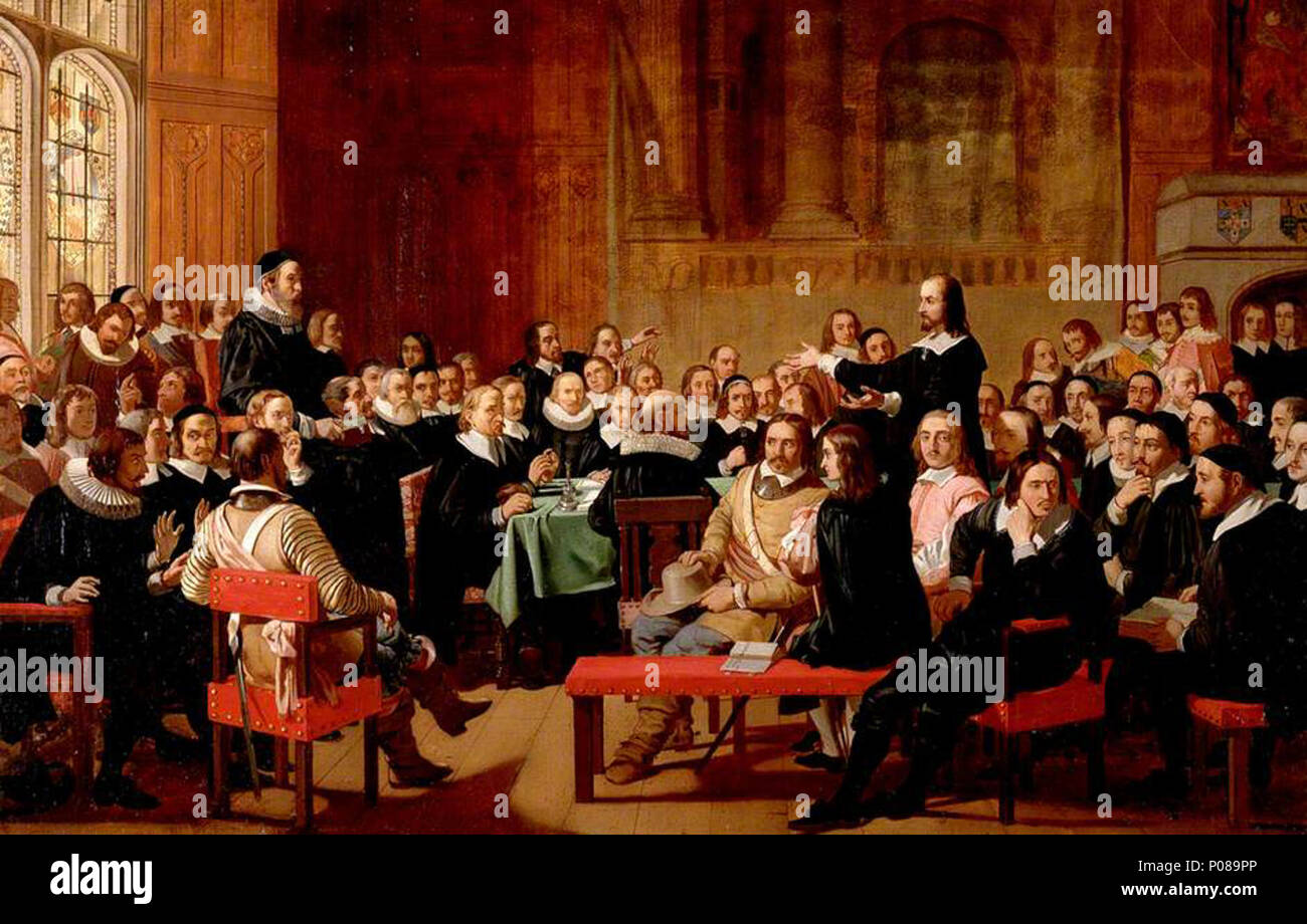 .  English: A meeting of the Westminster Assembly on 21 February 1644. Philip Nye, a member of the independent party, argues that the form of church government advocated by the presbyterians, under which local congregations submit to higher assemblies of elders, was 'thrice over pernicious, to civil states and kingdoms'. He was immediately 'cryed down', according to Robert Baillie, who kept a journal of the proceedings. The painting depicts many individuals who were not members of the Assembly, because when issues of particular interest were debated, non-members would attend as spectators. Jos - Stock Image