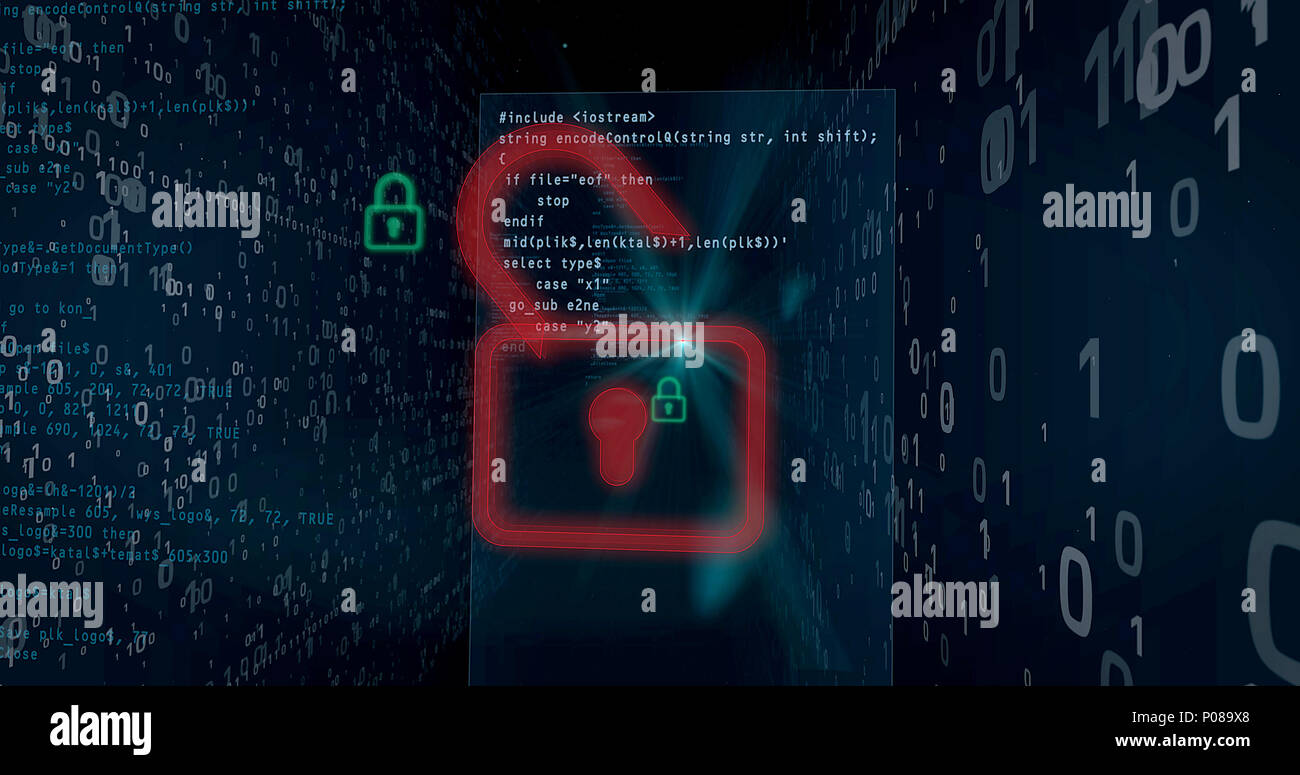 Cyber security breach on digital background concept. Opening padlocks for access to data, computer hacking. - Stock Image
