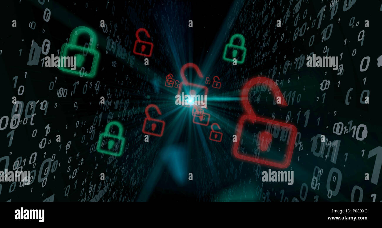 Red padlocks on cyberspace digital background. Computer security breach concept. - Stock Image