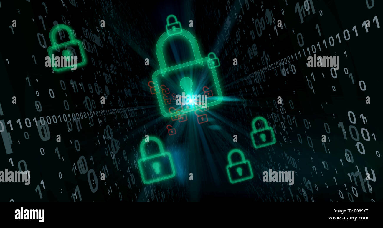 Green padlocks on cyberspace digital background. Computer security breach concept. - Stock Image