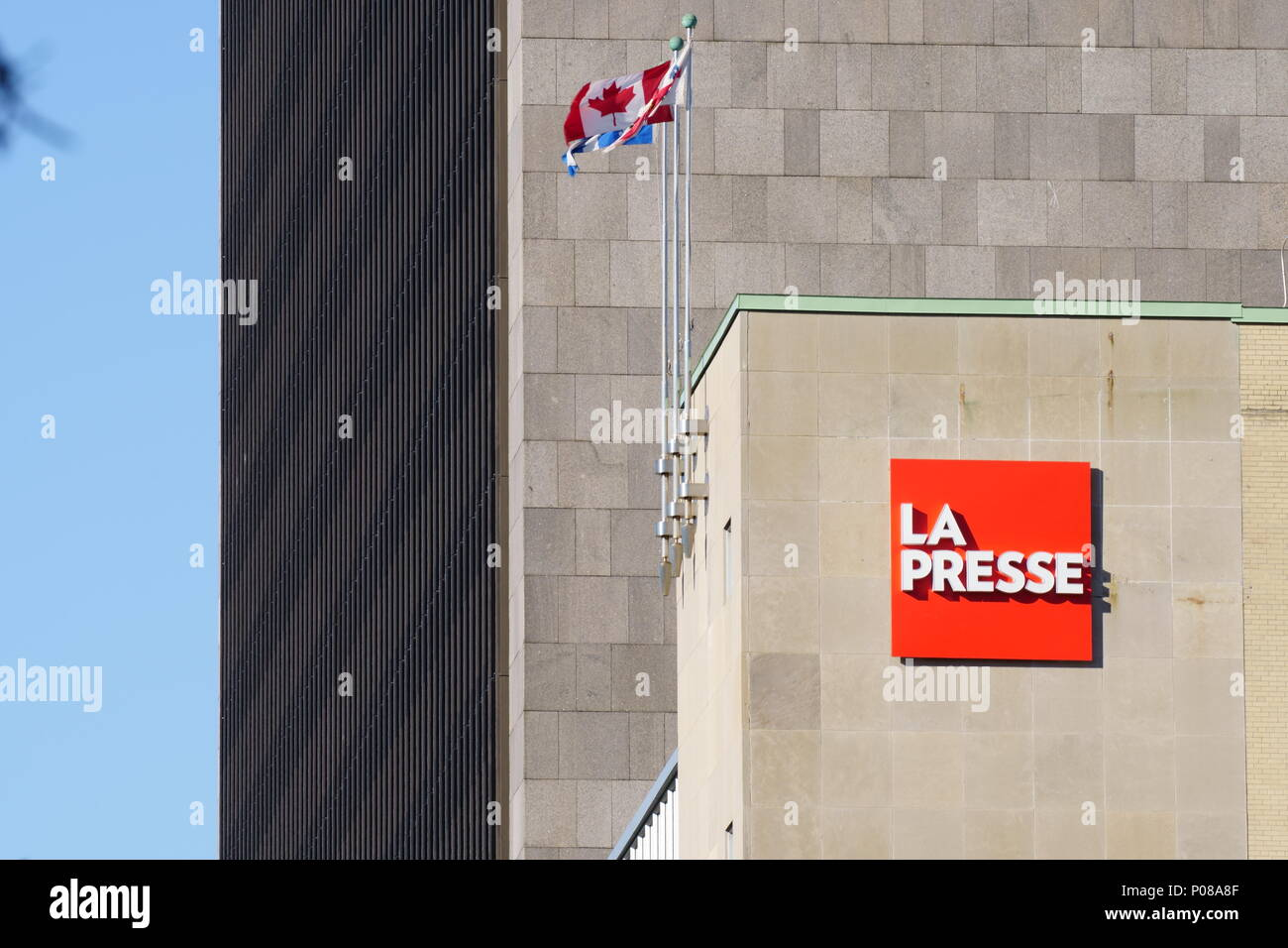 Montreal, QC / Canada - May 9th, 2018 : Newspaper 'LA PRESSE' which was the first to stop publish on paper to publish on Ipad.  Then, the annual turno - Stock Image