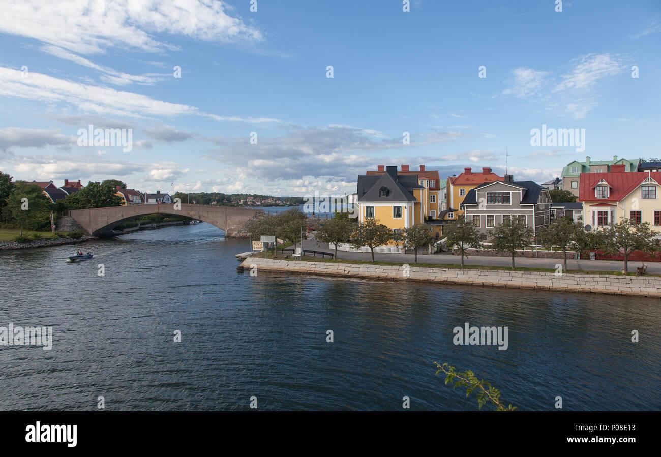 Brücke in den Schären Stadtlandschaft Karlskrona in Südschweden - Stock Image