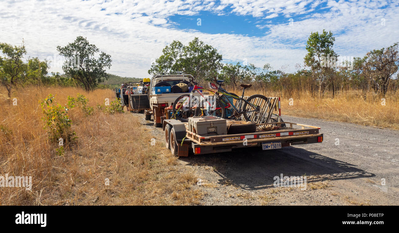 Gibb Challenge 2018 a convoy of 4 wheel drive support vehicles and trailers on the Gibb River Road Kimberley WA Australia. - Stock Image