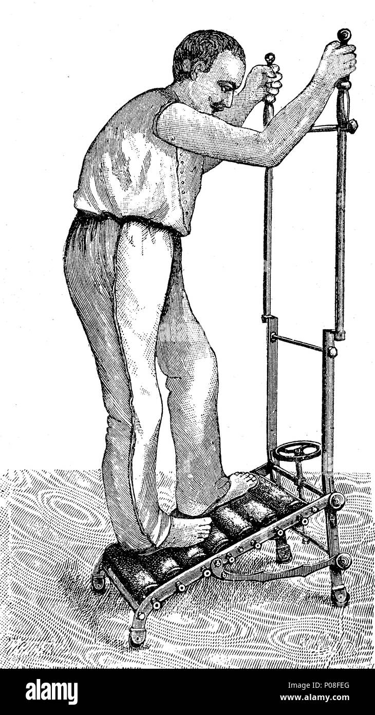 man with apparatus for room gymnastics, Apparat für Zimmergymnastik, digital improved reproduction of an original print from the year 1881 - Stock Image