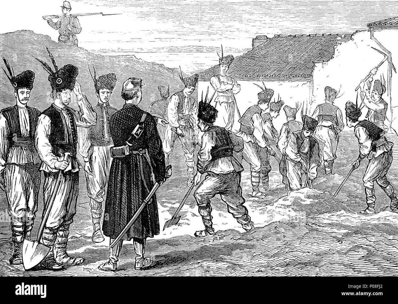 Romanian militia throwing up earthworks at Giurgevo, Romania, Russo-Turkish War of 1787-1792, digital improved reproduction of an original print from the year 1881 - Stock Image
