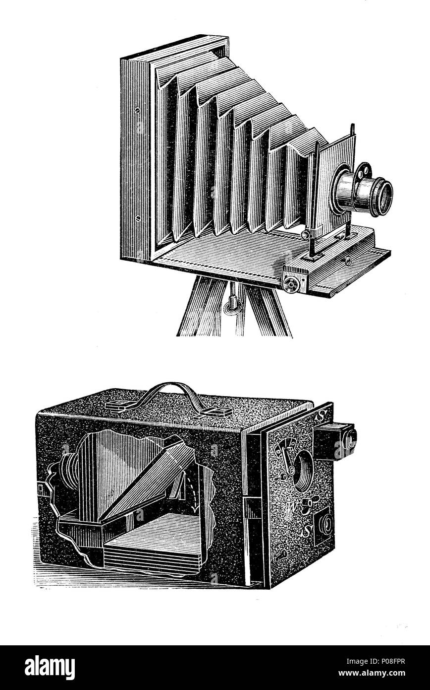 a camera for travellers, and a snapshot camera with magazin, digital improved reproduction of an original print from the year 1881 - Stock Image