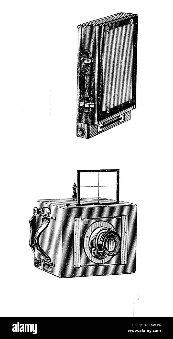 a camera for travellers, closed and a snap shot camera made by Anschuetz, digital improved reproduction of an original print from the year 1881 - Stock Image