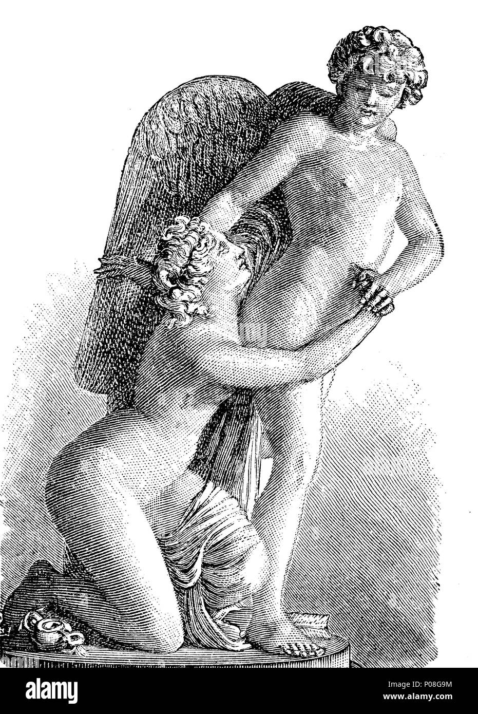 Sergel: Amor und Psyche, Cupid and Psyche, a story originally from Metamorphoses written in the 2nd century AD by Lucius Apuleius Madaurensis, digital improved reproduction of an original print from the year 1881 - Stock Image