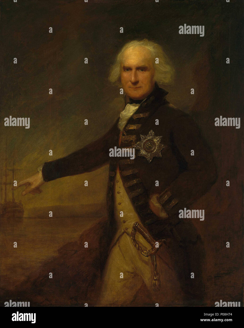 .  English: Admiral Alexander Hood, 1726-1814, 1st Viscount Bridport A three-quarter-length portrait facing left, wearing an admiral's undress uniform of 1787-95, and the KGB. Admiral Hood was third in command at the Battle of the Glorious First of June 1794. On 23 June 1795, while commanding the Channel Fleet, he fought a partial action with the French fleet off the Ile de Groix, capturing three of their ships. This event is implied in the portrait, since Hood's right hand is outstretched towards the action. Versions of this portrait also exist in the collections of the Yale Center for Britis - Stock Image
