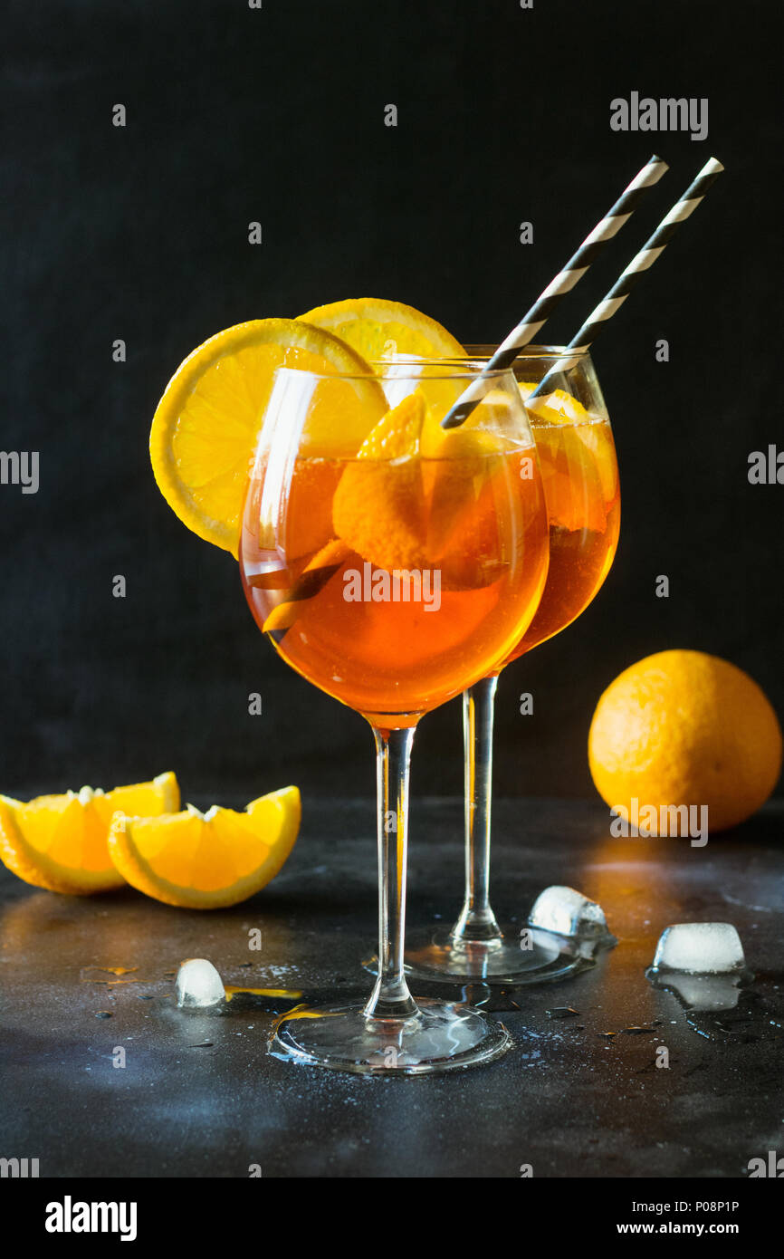 Classic italian aperol spritz cocktail on black. Close up. - Stock Image