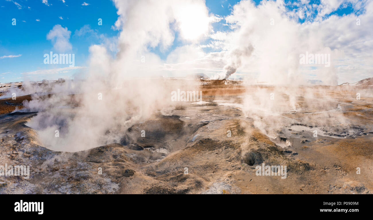 Steaming hot springs, geothermal area Hverarönd, also Hverir or Namaskard, Northern Iceland, Iceland - Stock Image