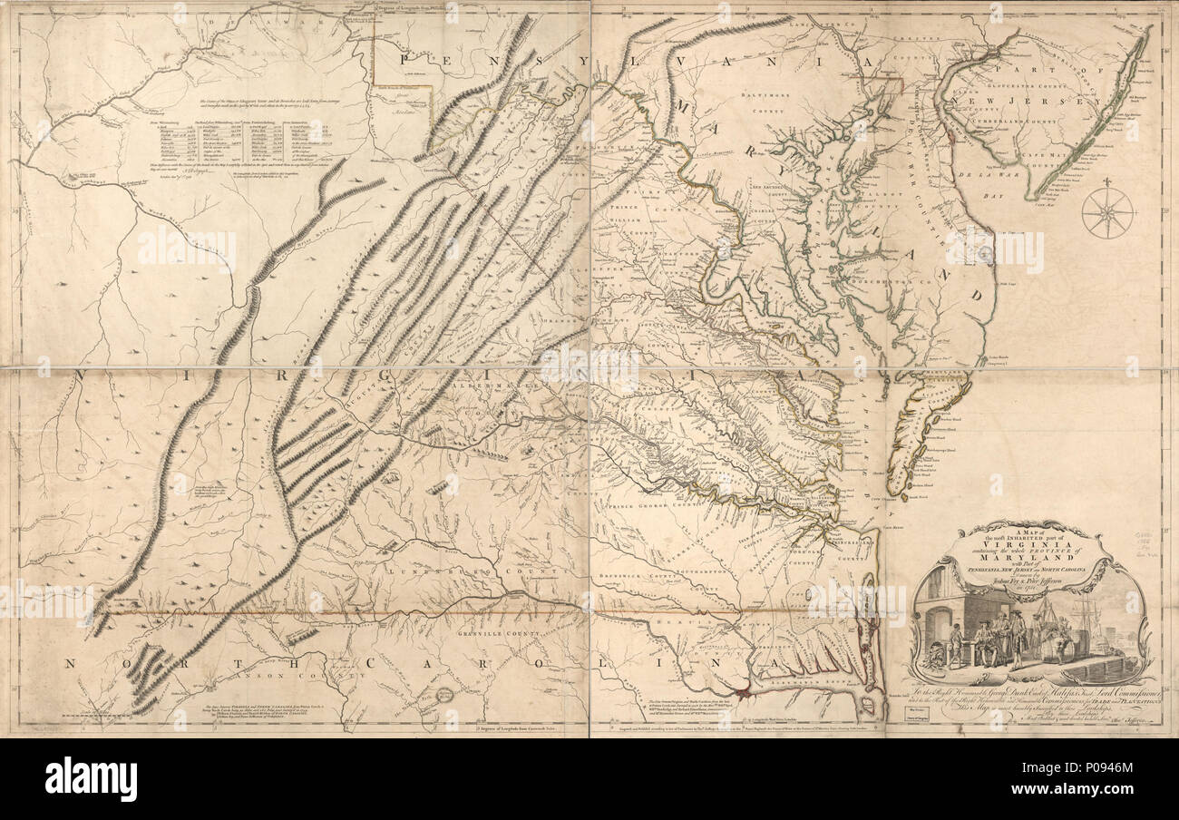 Map Of Virginia 1750.Map Virginia And Province Of Maryland Stock Photos Map Virginia