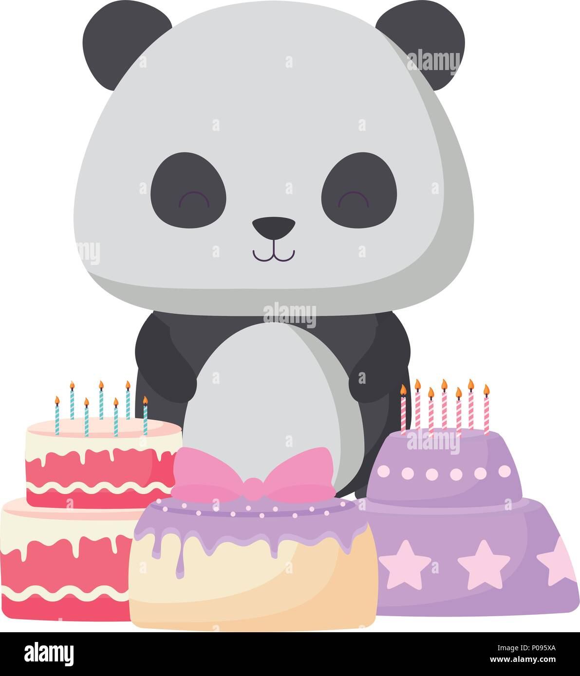 Groovy Cute Panda Bear With Birthday Cakes Over White Background Vector Funny Birthday Cards Online Inifofree Goldxyz