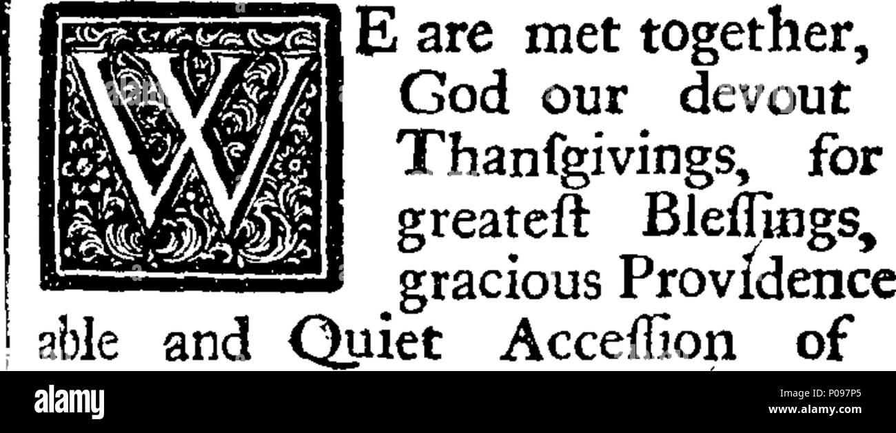 . English: Fleuron from book: A national establishment, the True Foundation of Allegiance. A sermon Preach'd before the Right Honourable Sir Charles Peers Knight, Lord-Mayor, and the Aldermen & Citizens of London, at the Cathedral-Church of St. Paul, On Wednesday Aug. 1. 1716, Being the Anniversary of His Majesty's Happy Accession to the Throne. By John Turner, D. D. Vicar of Greenwich, and Chaplain to His Royal Highness the Prince. Publish'd by the special Direction of the Lord-Mayor. 135 A national establishment, the True Foundation of Allegiance Fleuron T039621-1 - Stock Image