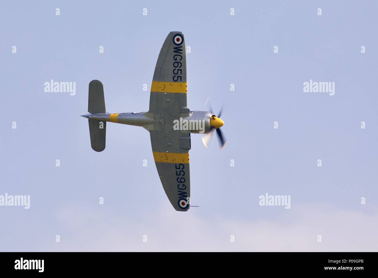 1951 Hawker Sea Fury from The Fighter Collection taking to the sky at the Imperial War Museum Air Festival on the 27 May 2018 - Stock Image