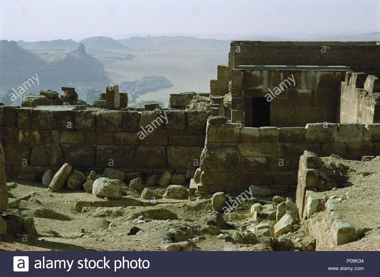 Remains of the Sun Temple of Pharaoh Nyuserre (5th dynasty, 2494-2345 BCE).  View of the Western Desert. Location: Temple, Abu Ghurab, Egypt.