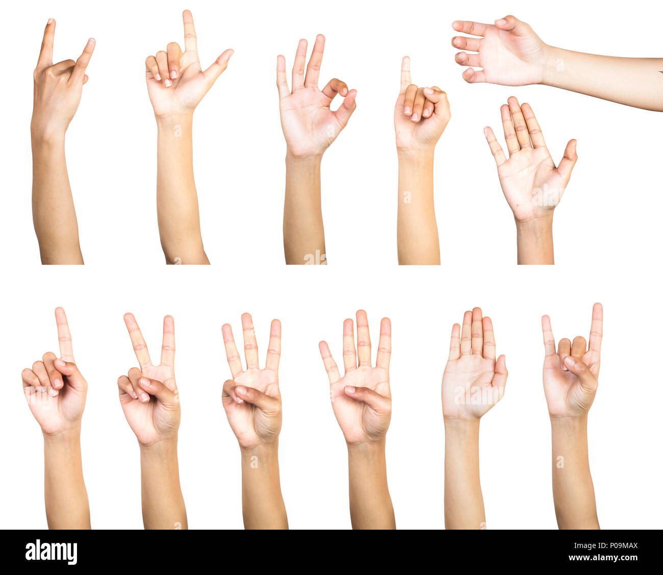 Clipping path of multiple female hand gesture isolated on white background. Isolation of hands count gesturing number or symbol on white background. - Stock Image