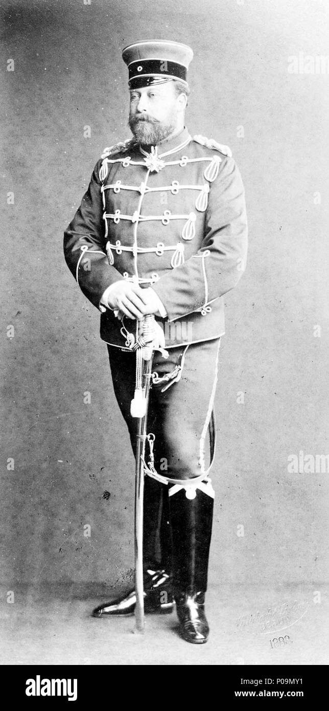 . English: Photograph of Albert Edward, Prince of Wales wearing German military uniform  . 1883. Reichard & Lindner, Berlin 82 Photograph of Albert Edward, Prince of Wales wearing German military uniform - Stock Image