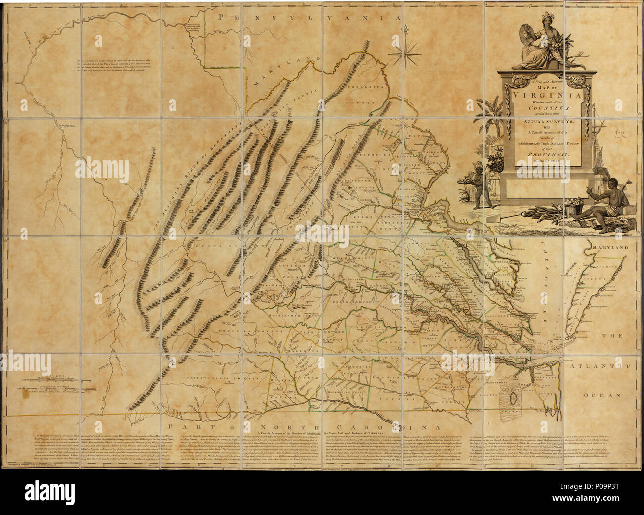 Map Of Virginia 1750.English Scale Ca 1 400 000 Hand Colored Lc Copy Sectioned And