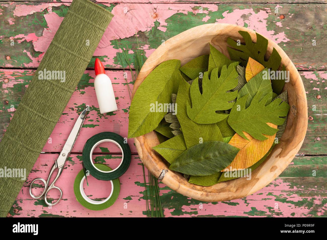 Utensils For Making Paper Flower Leaves And Paper Flower Leaves On
