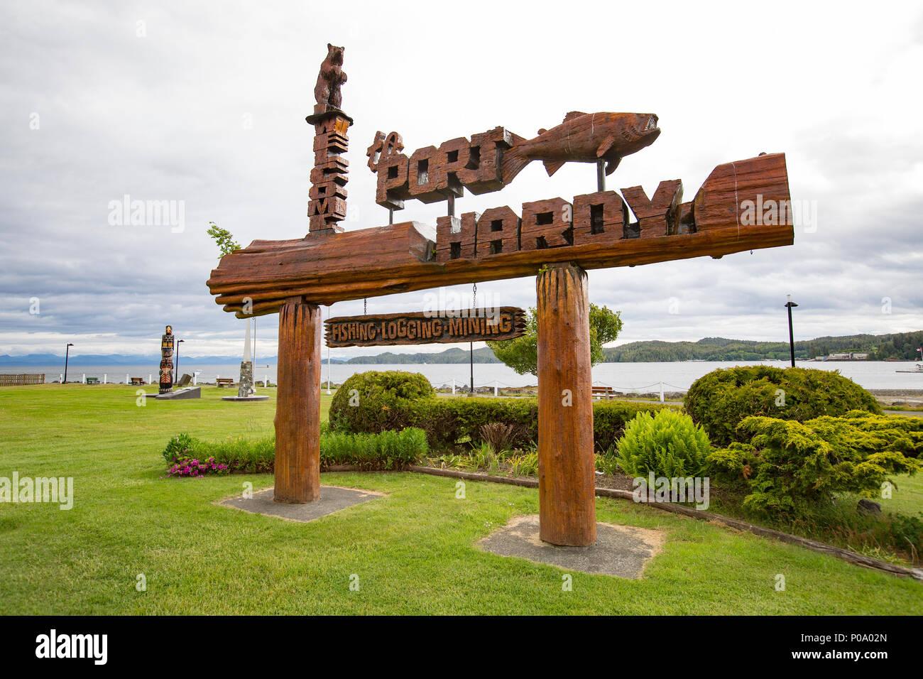Port Hardy sign, Vancouver Island, British Columbia, Canada - Stock Image
