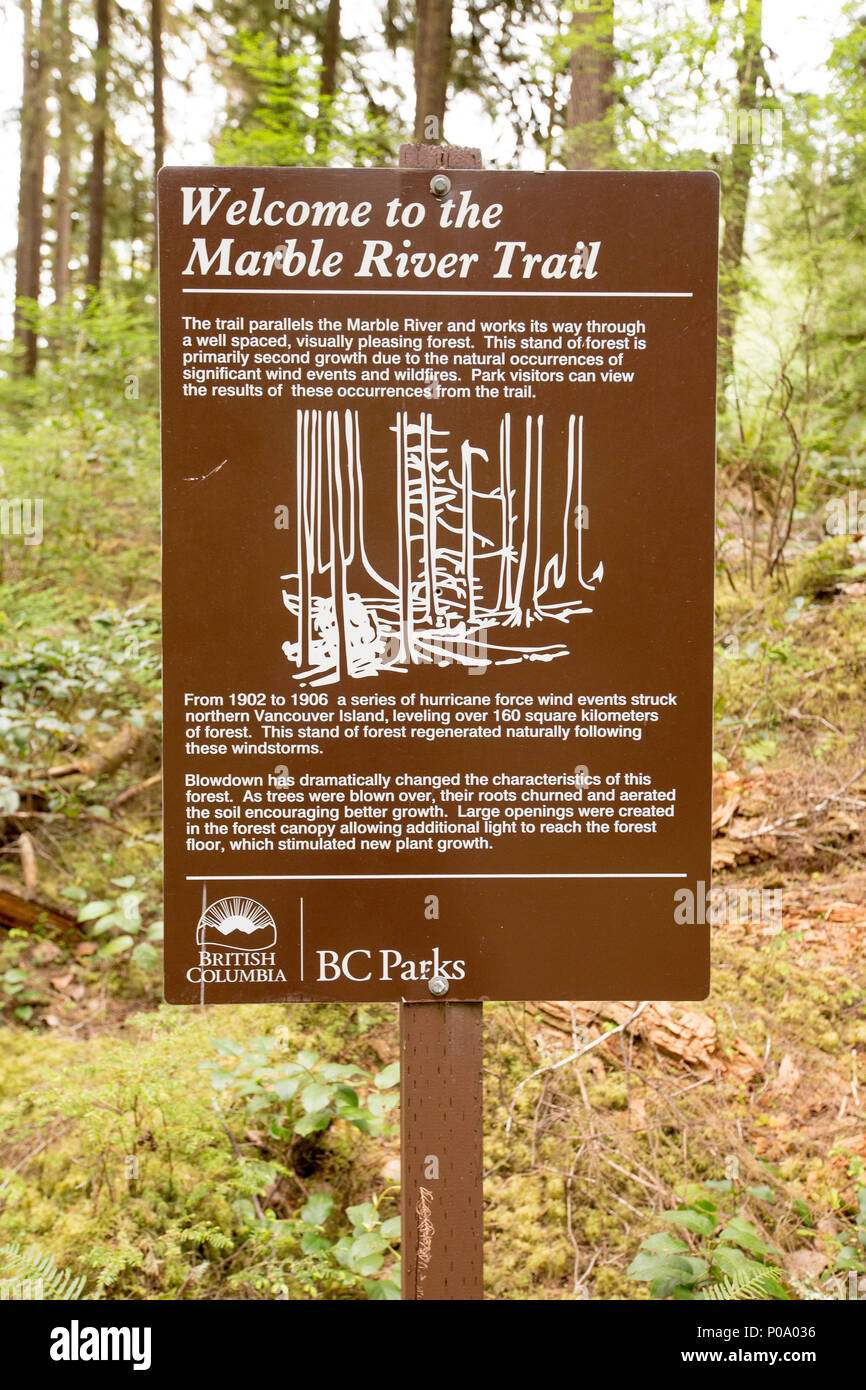 Marble River Trail sign, Marble River Provincial Park, Vancouver Island, British Columbia, Canada. - Stock Image