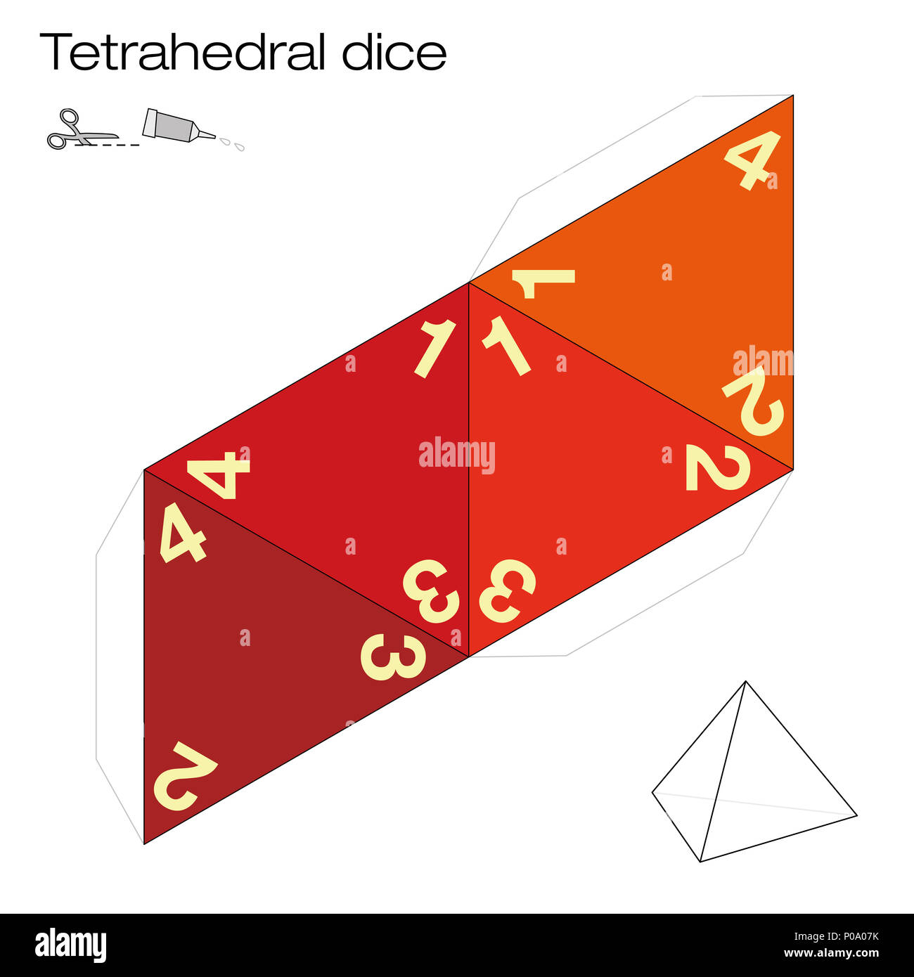 Tetrahedron template, four sided tetrahedral dice - one of the five platonic solids - make a 3d item out the net and play dice. Illustration o Stock Photo