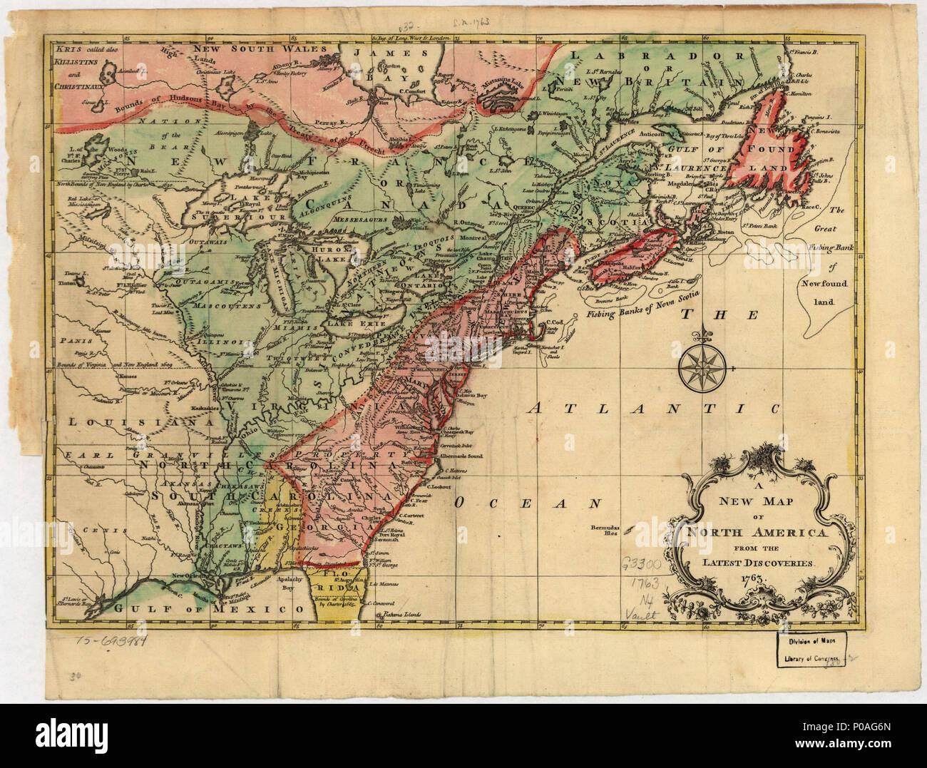 North America Map 1750.English Scale Ca 1 10 000 000 Hand Colored Relief Shown