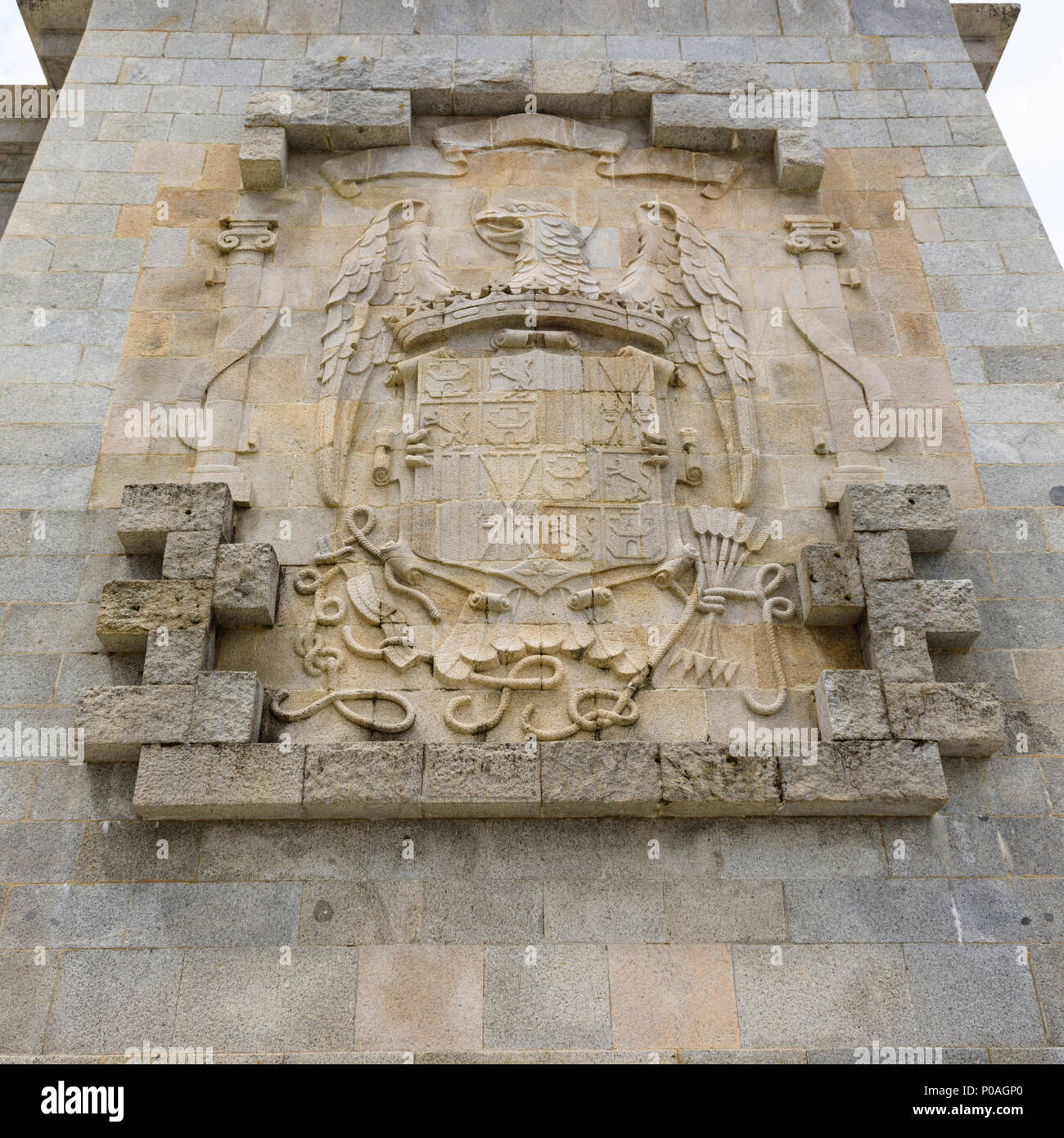 Coat of arms, Calle de Los Caidos, Valley of the Fallen. Roman Catholic monumental memorial to the Spanish Civil War. Madrid, Spain. May 2018 Stock Photo