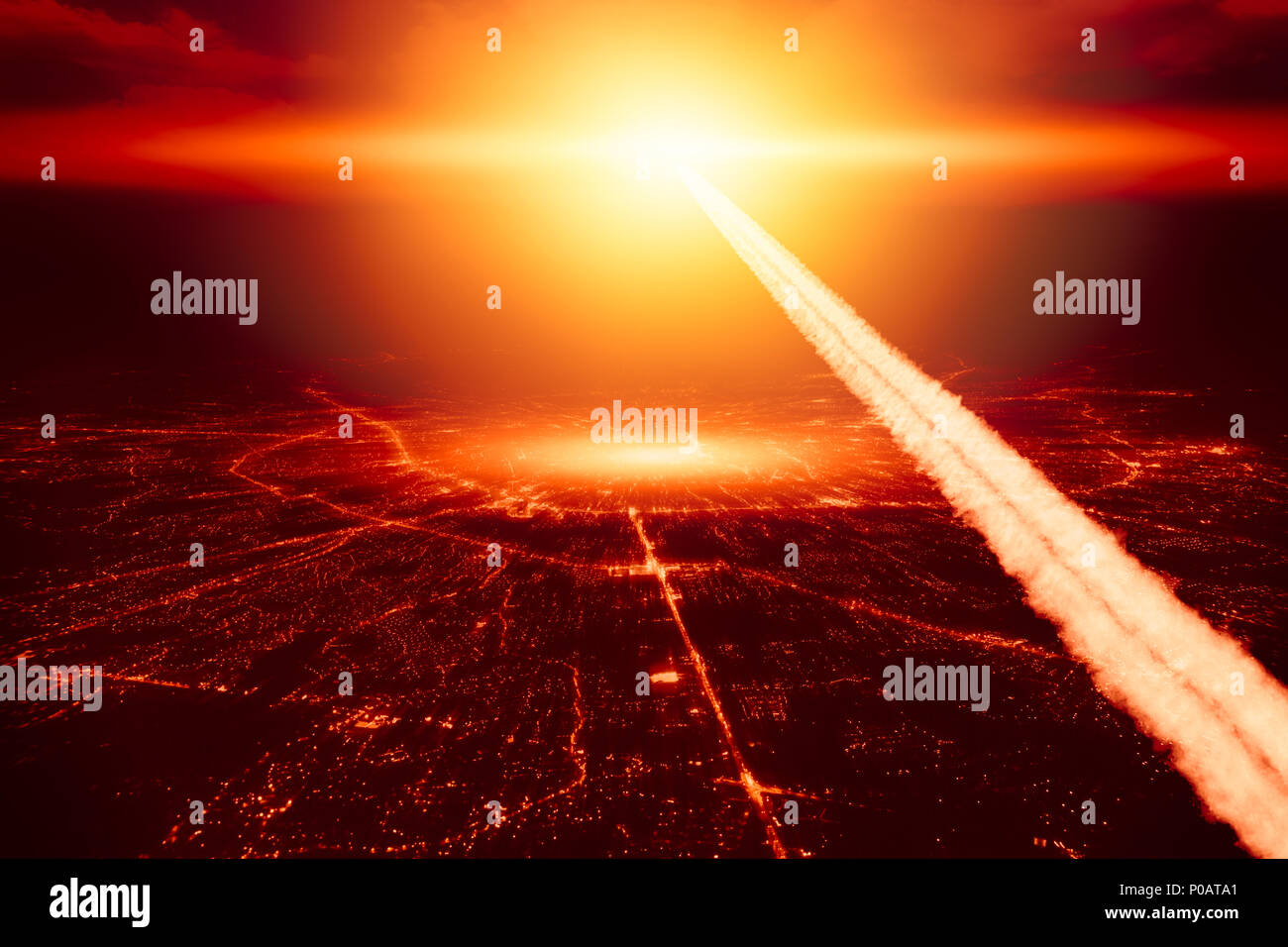 city destroyed by nuke nuclear bomb high altitude nuclear explosion