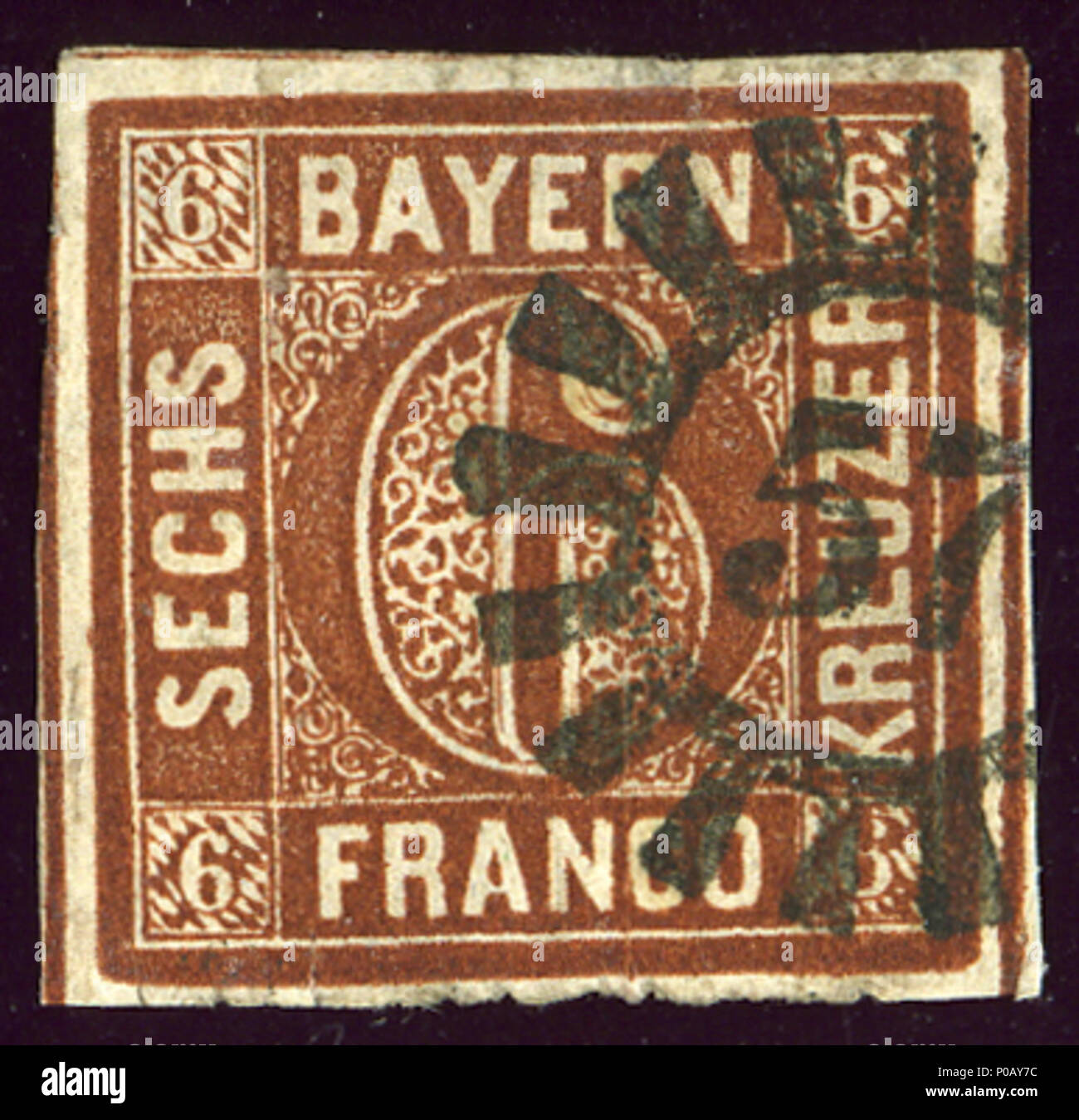 . English: Kingdom of Bavaria stamp, 6 kreuzer issue 1850, Michel 4II, closed millwheel cancelled 57 DINKELSBÜHL.  . 2 August 2013, 17:09:36. Jacquesverlaeken 20 1850 Bayern 6kr Mi4II 57 File0151 - Stock Image