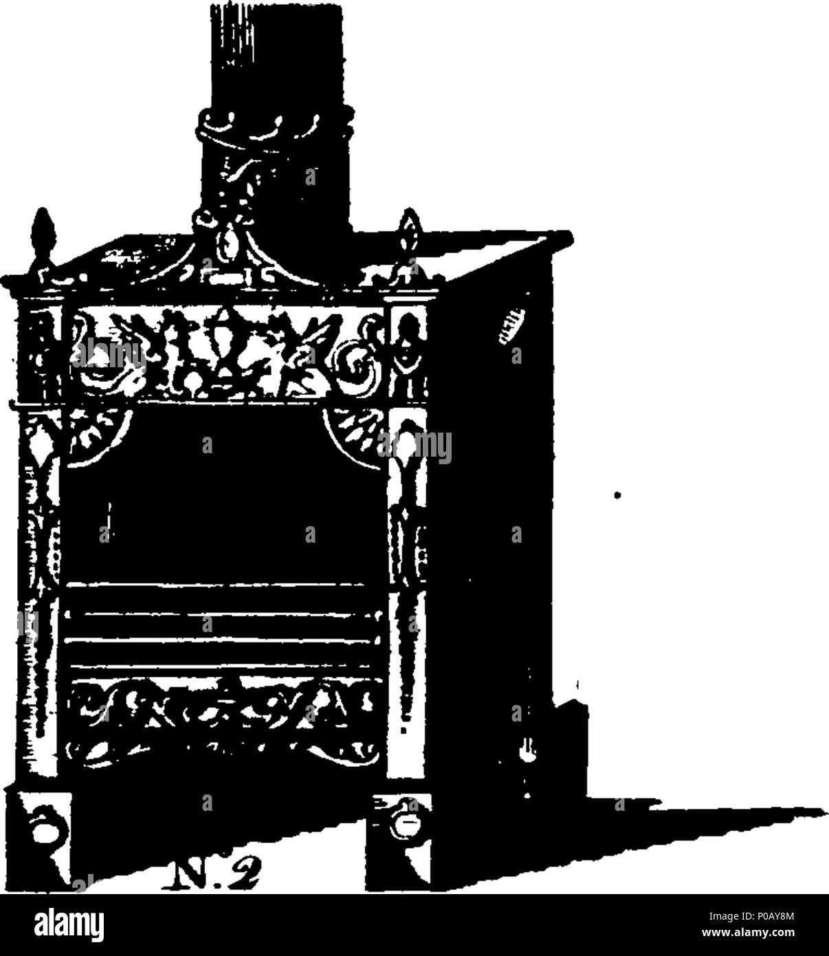 . English: Fleuron from book: An account of the principle and effects of the air stove-grates, (which warm Rooms, &c. by a continual Introduction and Exchange of dry fresh Air,) Commonly known by the Name of American Stoves: together with a description of the late additions and improvements made to them By James Sharp, (for which his Majesty's Patents for Great-Britain are obtained,) No. 15, Leadenhall-Street, London. Either warm or cold Air may (by this Improvement) be drawn through the Stove so as to raise or lower the Thermometer at Pleasure: And, it is found by Experience, if a Room be mad - Stock Image