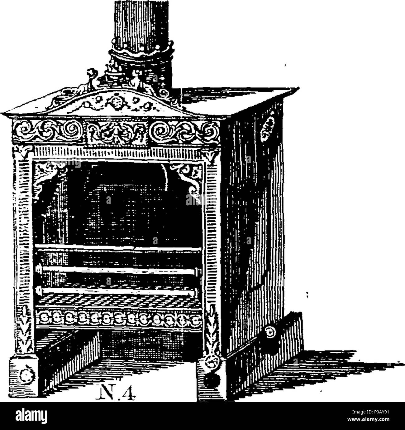 . English: Fleuron from book: An account of the principle and effects of the air stove-grates, (which warm Rooms, &c. by a continual Introduction and Exchange of dry fresh Air,) commonly known by the name of American stoves: together with a description of the late additions and improvements made to them by James Sharp, (for which his Majesty's patent is obtained,) No. 15, Leadenhall-Street, London. Either warm or cold Air may (by this Improvement) be drawn through the Stove so as to raise or lower the Thermometer at Pleasure: And, it is found by Experience, if a Room be made ever so warm it wi - Stock Image