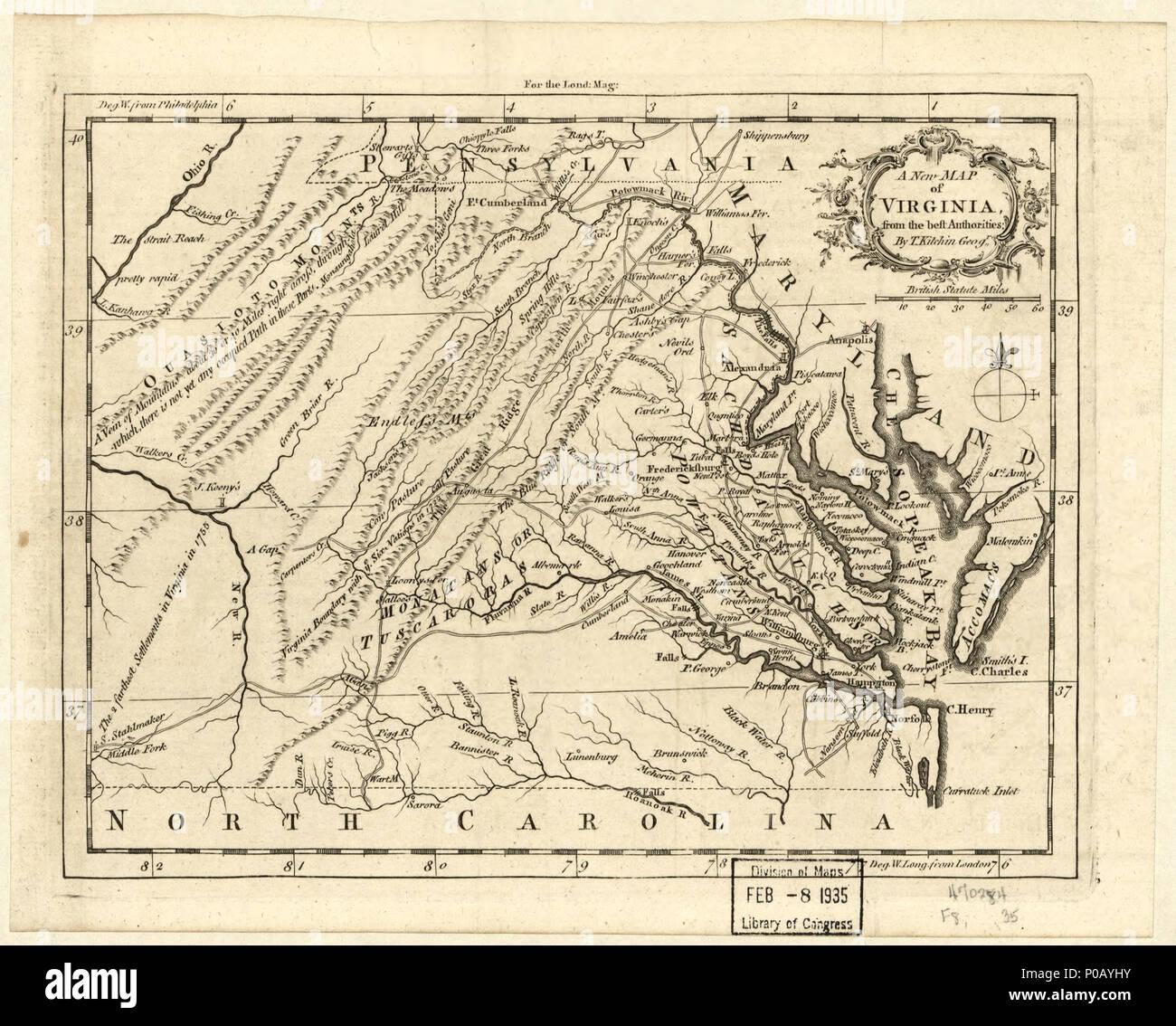 Map Of Virginia 1750.English From The London Magazine November 1761 V 30 Prime