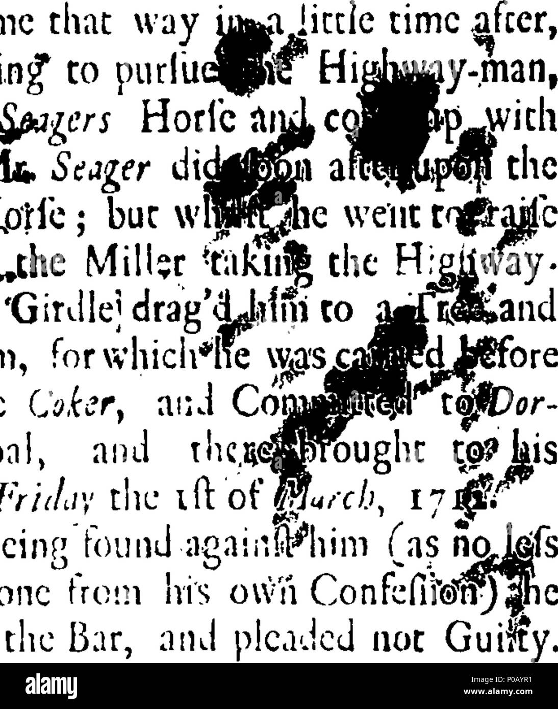 . English: Fleuron from book: An account of the tryal and examination of Joseph Reader, a miller, living at Shaftesbury in Dorsetshire; who was try'd on Friday, March 21, at the Assizes held at Dorchester, before the Honourable Mr. Baron Bury, for hanging one James Smith, a highway-man (whom he had taken) on a Tree, contrary to Law. With an Account how he was Acquitted, and had 30 l. given him by the Company for his Enccouragement, with other Memorable Passages at the Tryal. To which is also added an Account of the Dying-Speech the Highway-Man made to him before his Execution, and other Words  - Stock Image