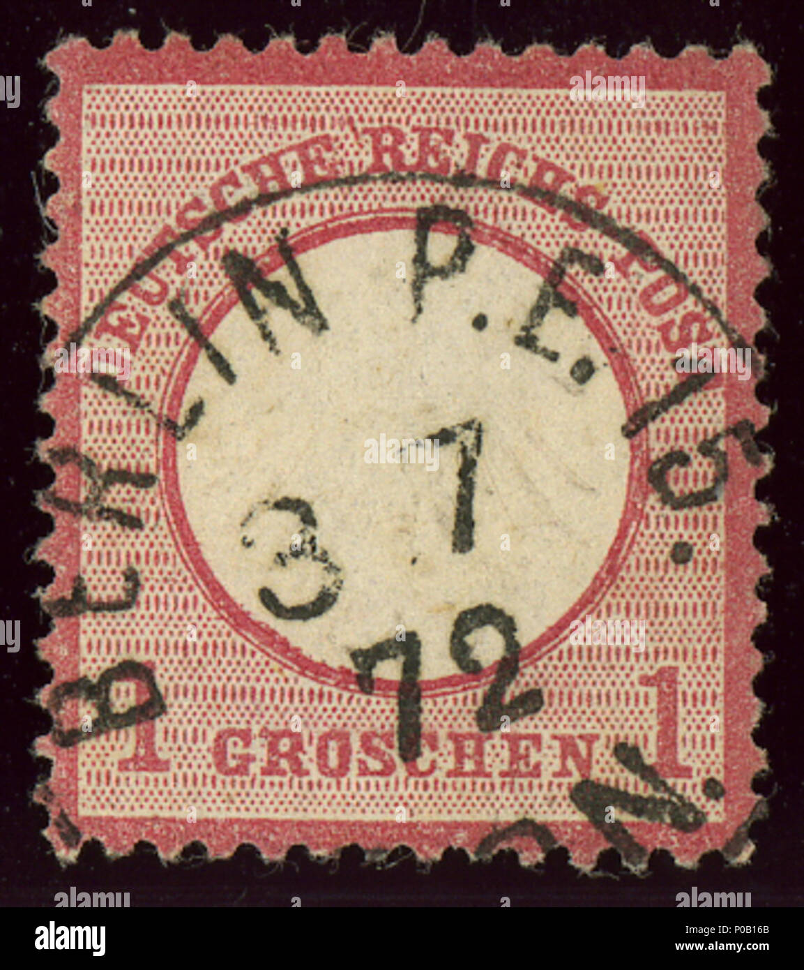 . English: Stamp of Germany, 1 Groschen first issue 1872, small eagle, cancelled at BERLIN Post-Expedition 15 in July 1872.  . 25 August 2013, 13:17:16. Jacquesverlaeken 1 1872 Reich 1Gr BerlinPE15 Mi4 - Stock Image