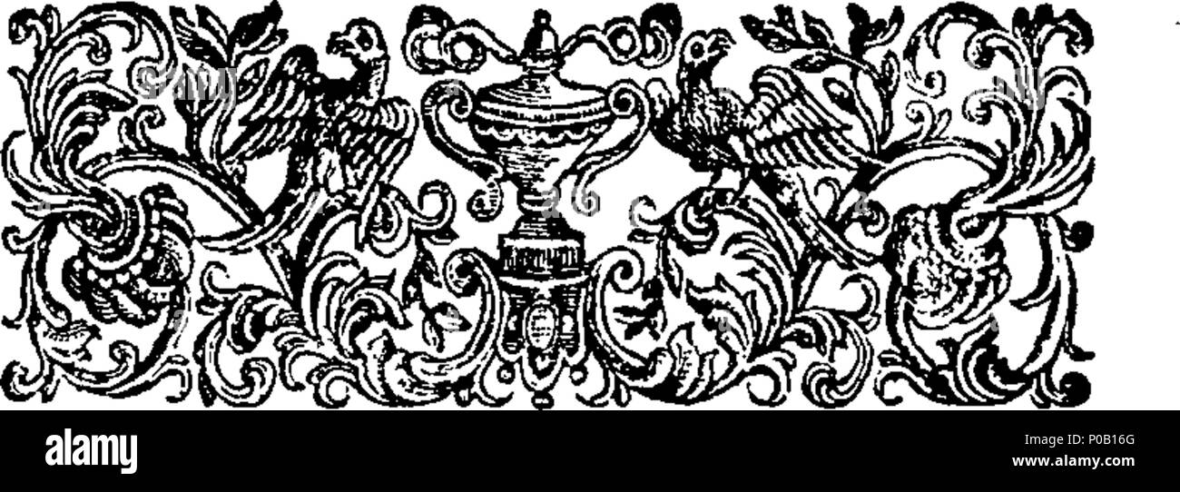 . English: Fleuron from book: A new pantheon: or, fabulous history of the heathen gods, heroes, goddesses, &c. explain'd in a manner intirely new, And render'd much more useful than any hitherto publish'd on this Subject. Adorn'd with figures depicted from ancient paintings, medals and gems, for the Use of those who would understand History, Poetry, Painting, Statuary, Coins, Medals, &c. To which is added, a discourse on the theology of the ancients, wherein the Manner of their Worship, and the Rise and Progress of Idodolatry are considered. As also An Explanation of their ancient Mythology fr - Stock Image